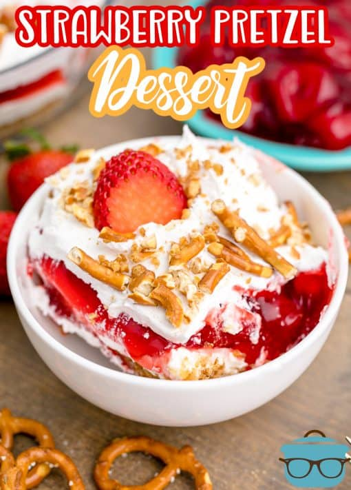 Strawberry Pretzel Dessert tin white bowl with pretzels and strawberries pinterest image