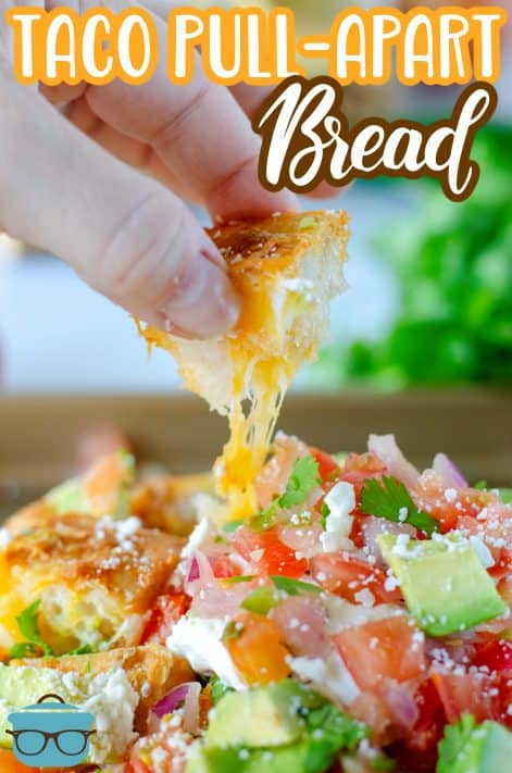 Cheese pull from a piece of the bread loaf Pinterest image