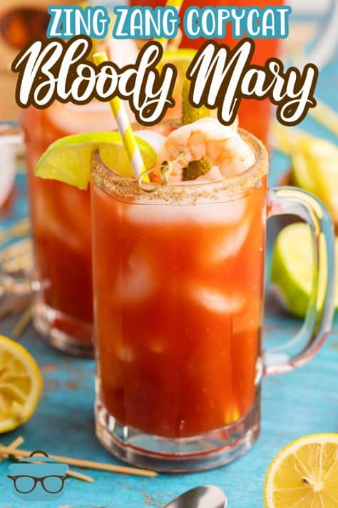 One Glass of Bloody Mary Mix Recipe with garnishes Pinterest image