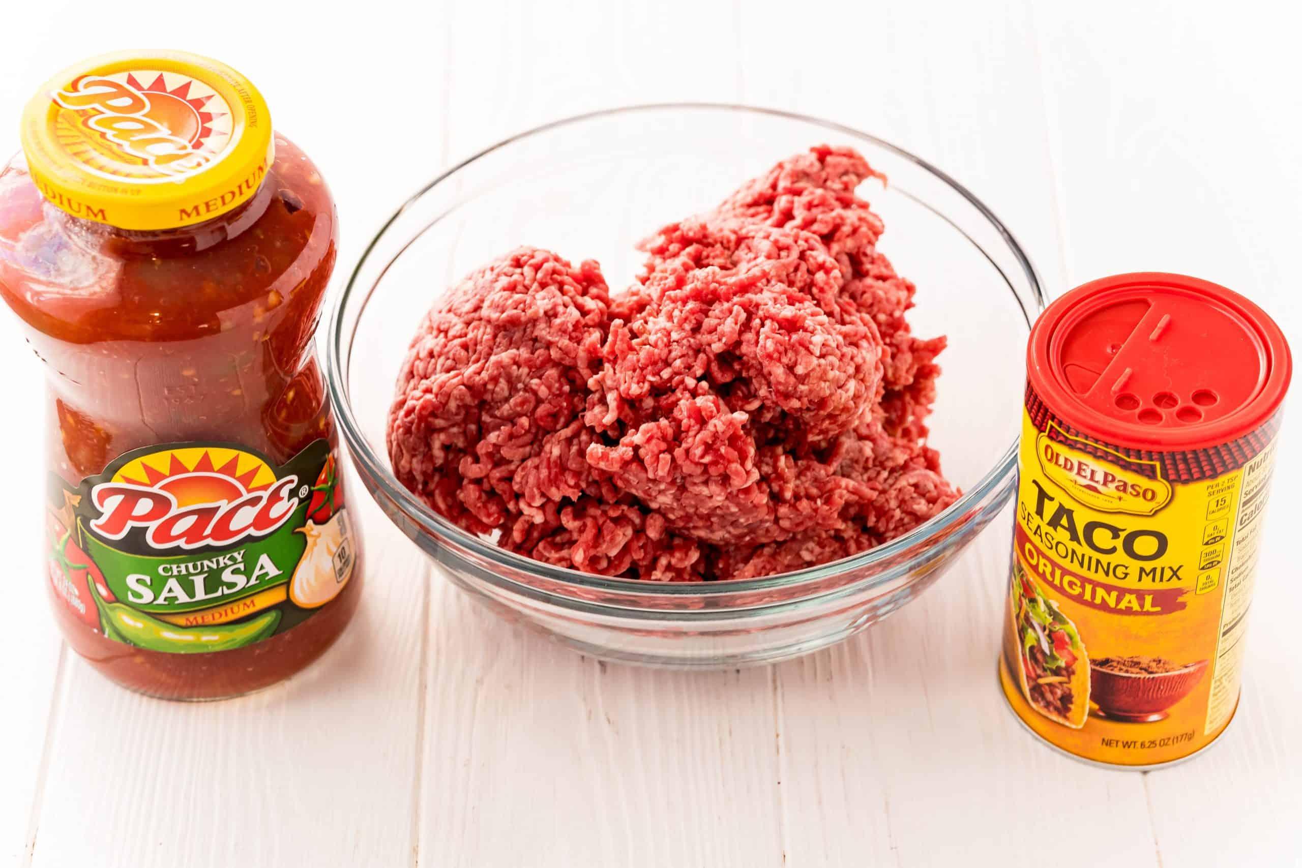 Ingredients needed: ground beef, salsa and taco seasoning