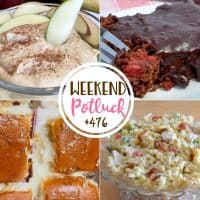 Weekend Potluck recipes: Chocolate Cherry Bars, Chicken Bacon Ranch Macaroni Salad, Hot Ham and Cheese Sliders and 3-Ingredient Fruit Dip.