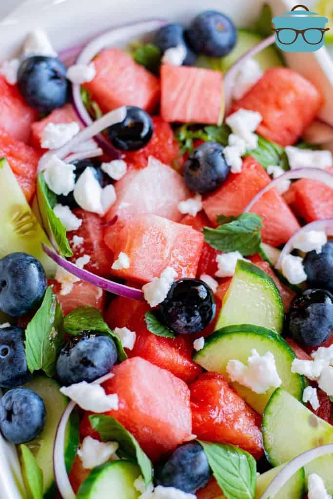 Close up of Watermelon Feta Salad in white dish