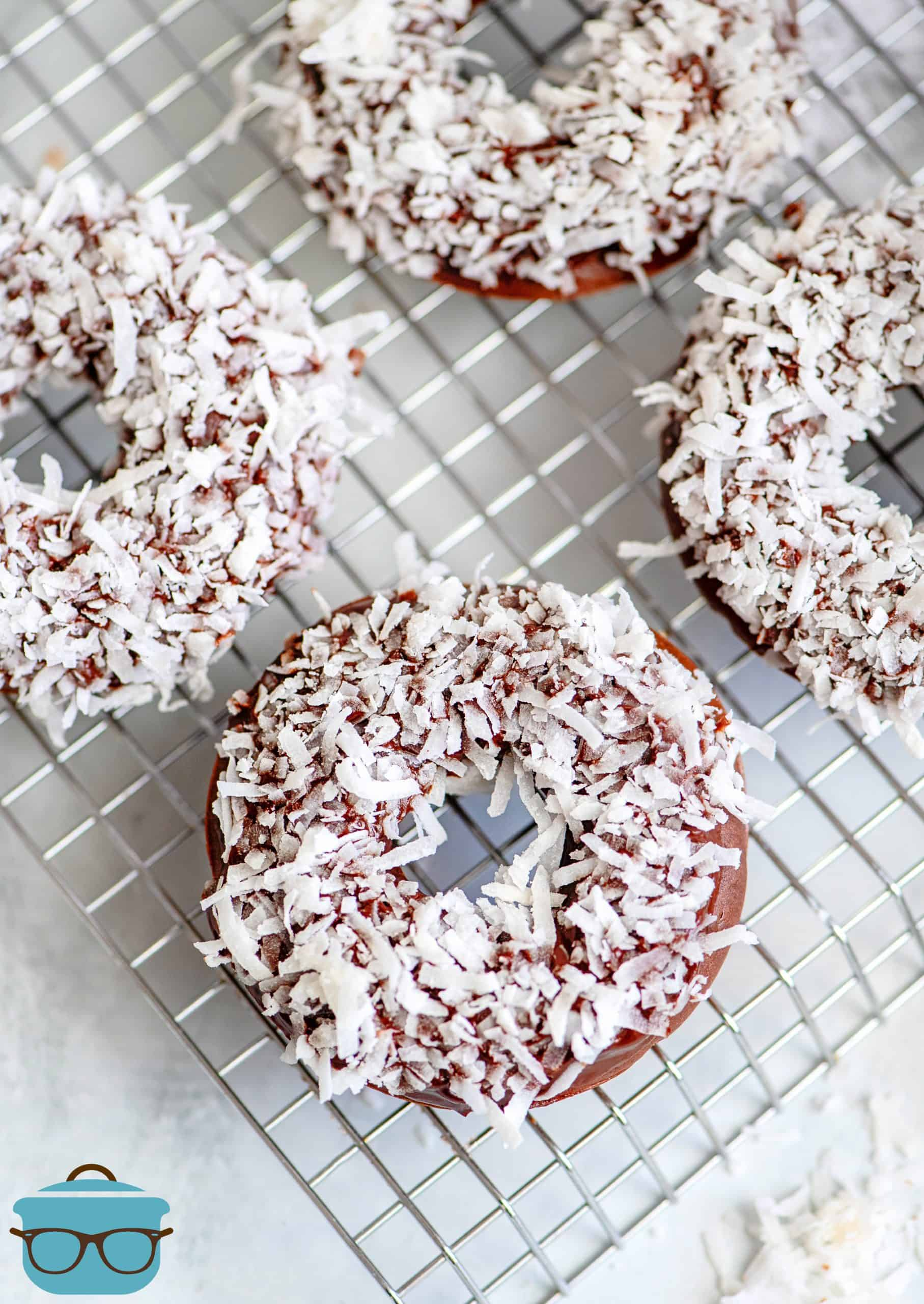 Chocolate Coconut Baked Donuts overhead photo on wire rack