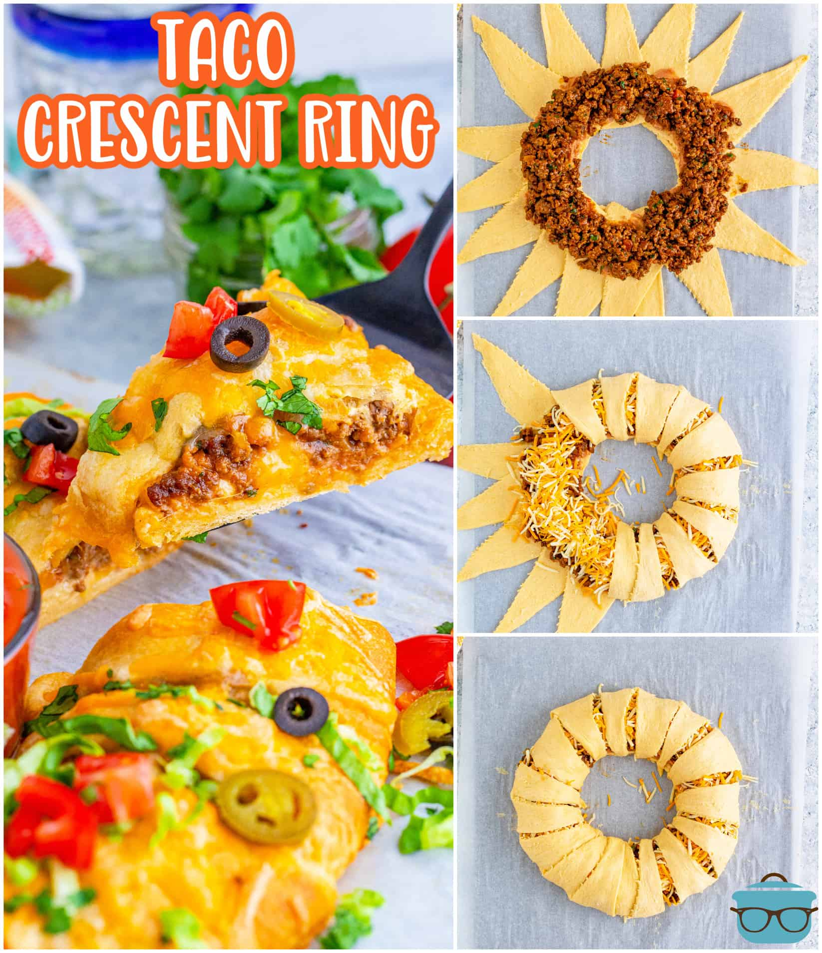 This Taco Crescent Ring is so versatile andalways a favoritewith friends and family! It uses simple ingredients all wrapped up in crescent rolls making it a fun appetizer or main dish!