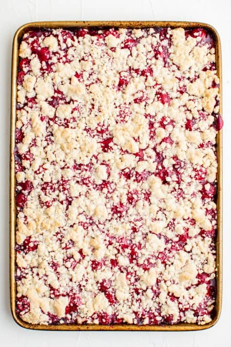 Baked filling and crumble top out of oven