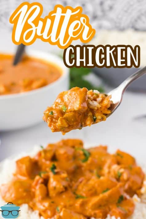 Spoon holding up on a scoop of Creamy Butter Chicken Recipe with rice Pinterest image