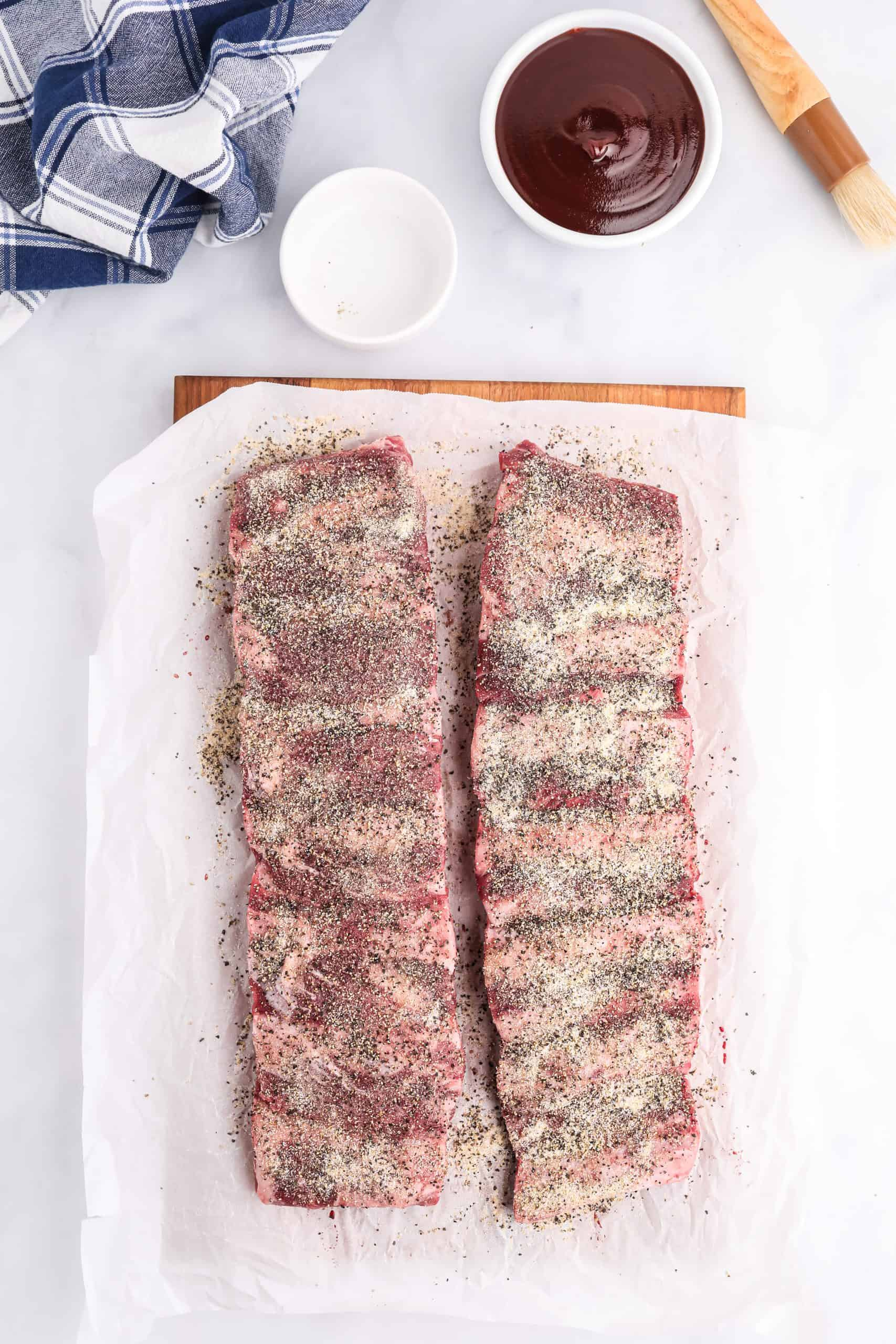 Ribs covered with dry ingredients.