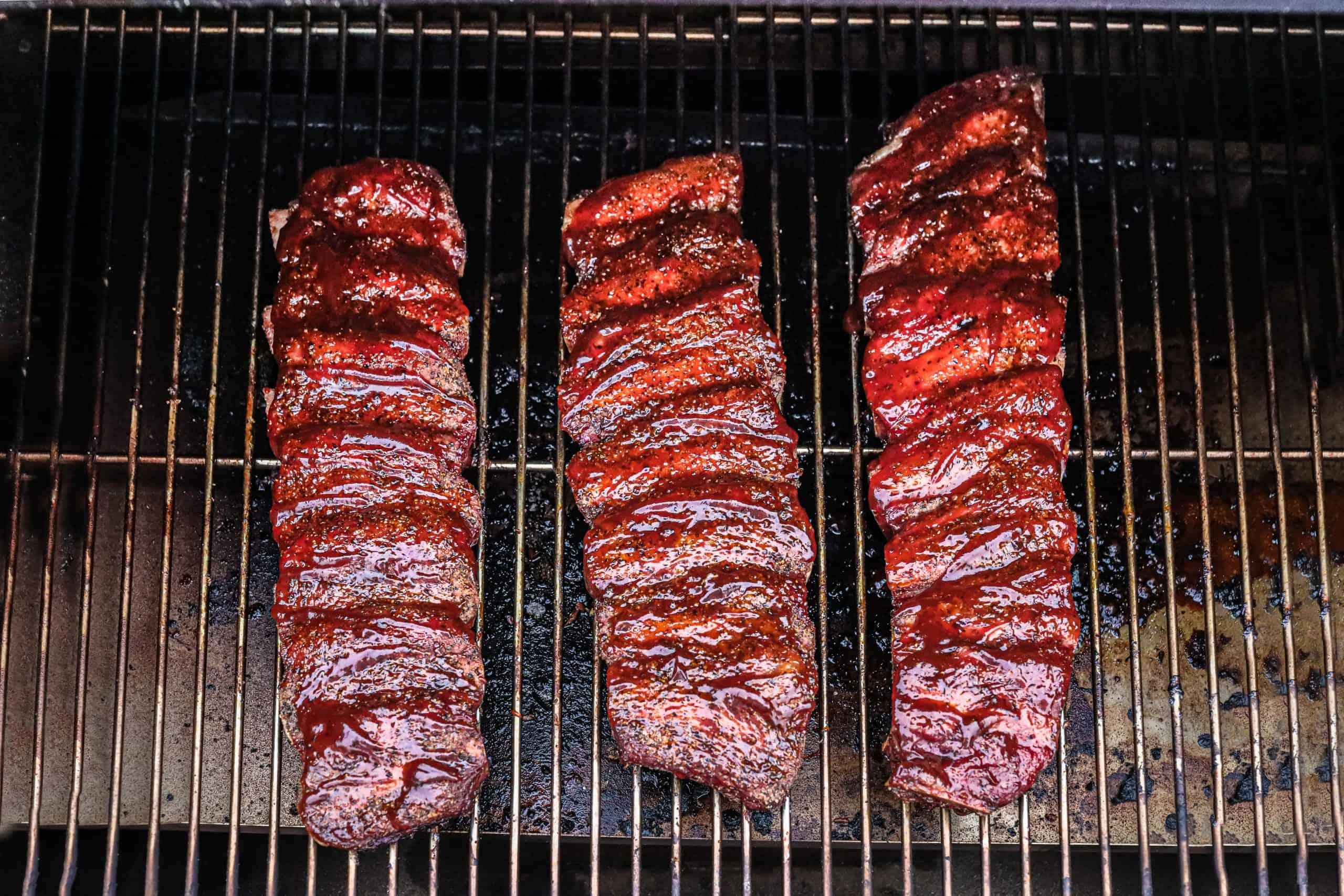 Finished ribs overhead photo on smoker.