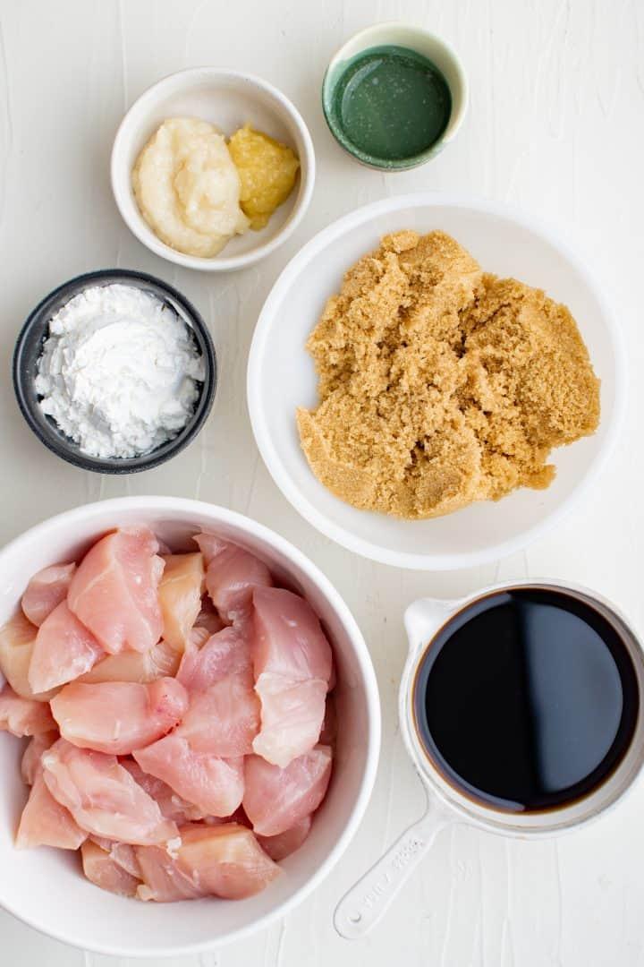 Ingredients needed: brown sugar, soy sauce, garlic paste, ginger paste, rice wine vinegar, chicken and cornstarch