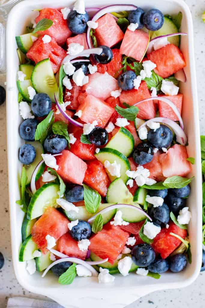 Tossed salad with feta added