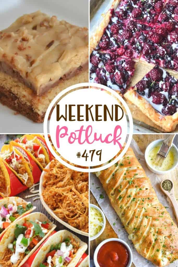 Weekend Potluck recipes: Peanut Butter Chocolate Sheet Cake, Pizza Braid, Blackberry Cheese Danish and 3-Ingredient Crock Pot Chicken Tacos