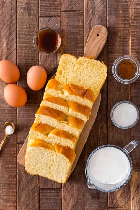 Ingredients needed: brioche bread, eggs, egg yolk, half & half, granulated sugar, vanilla extract, cinnamon and salt