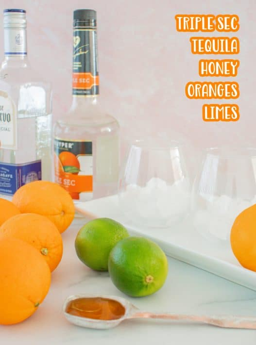 Ingredients needed: orange juice, lime juice, triple sec, tequila and honey