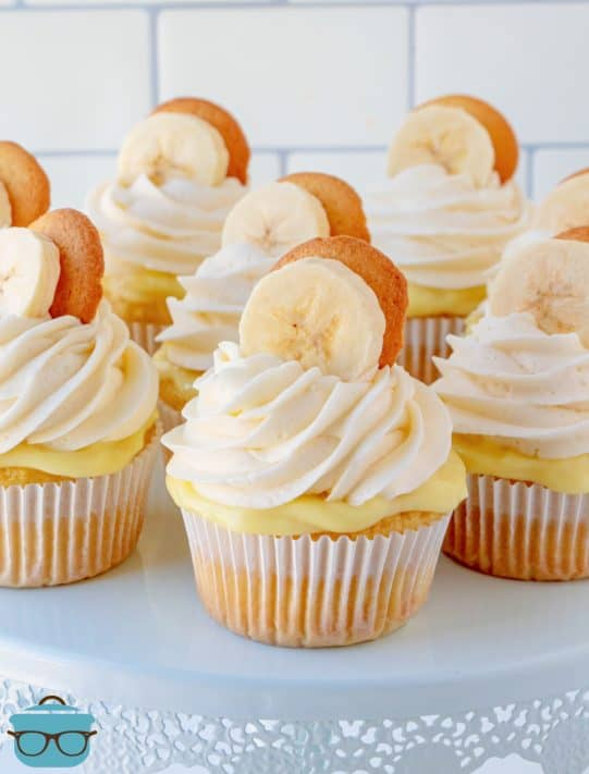 Banana Pudding Cupcakes on cake stand frosted and garnished