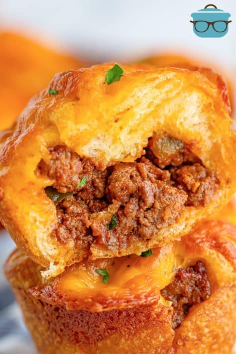 Close up image of on Sloppy Joe Cup cut open showing filling