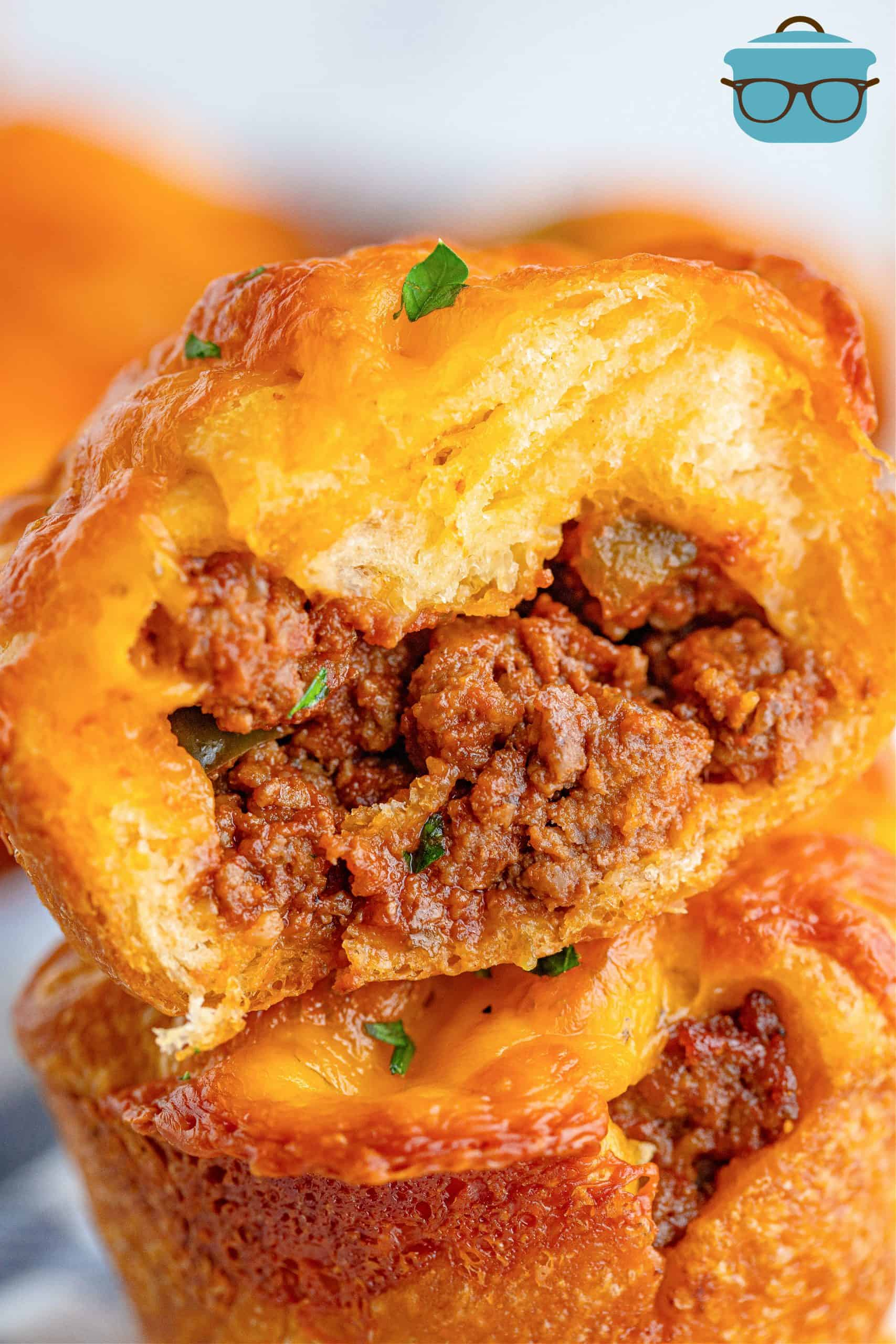 Close up image of on Sloppy Joe Cup cut open showing filling.