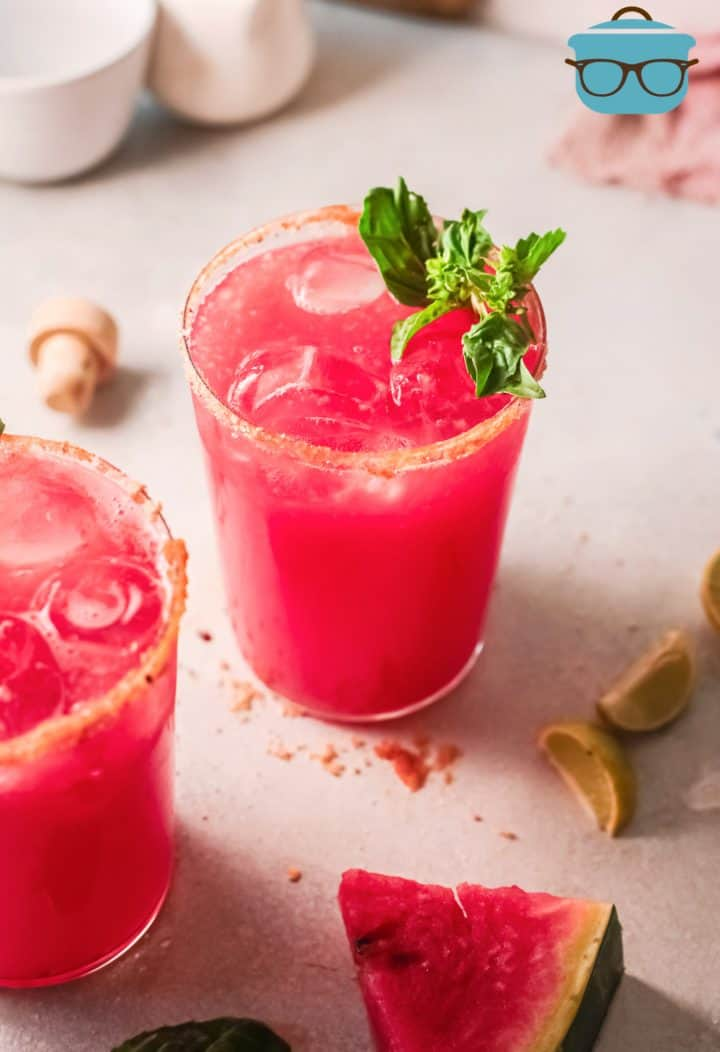 Glass of Watermelon Margaritas with basil
