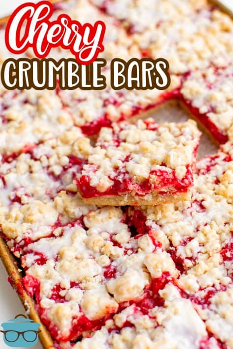 Cherry Crumble Bars cut up in pan with one bar sticking out the top stacked Pinterest image