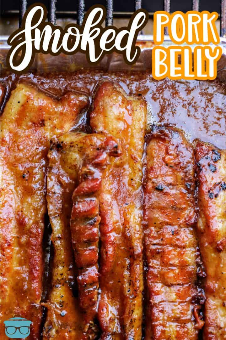 Finished Smoked Pork Belly in strips Pinterest image