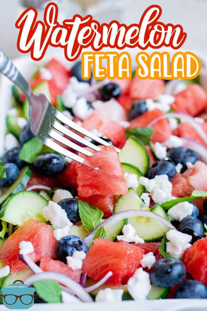 Fork going into salad in dish Pinterest image