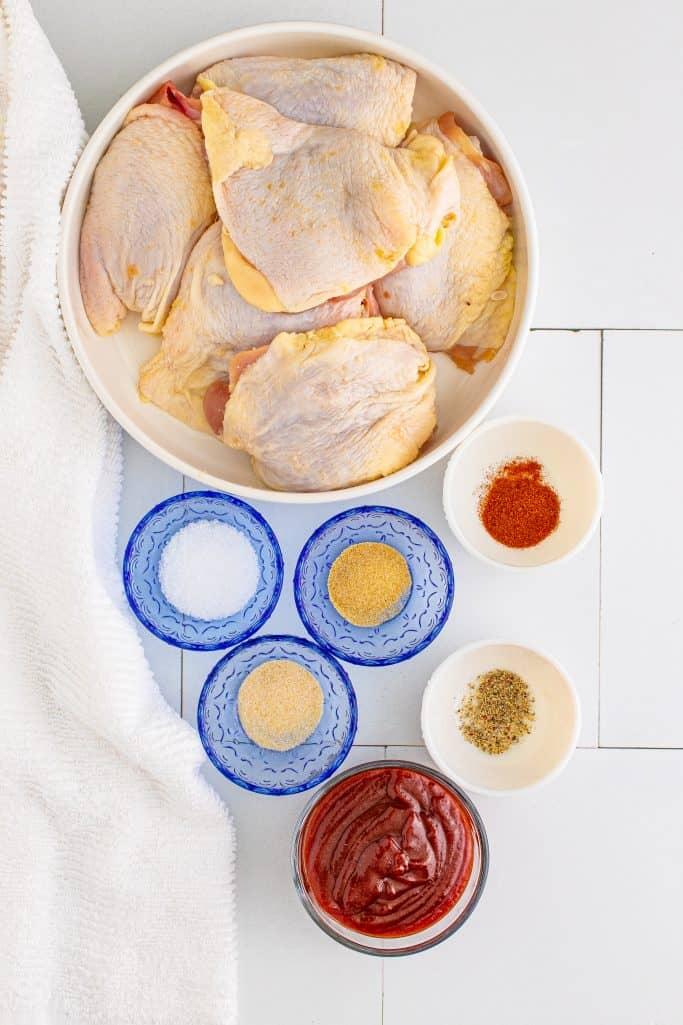 Ingredients needed: chicken thighs, garlic powder, onion powder, smoked paprika, salt, pepper and bbq sauce