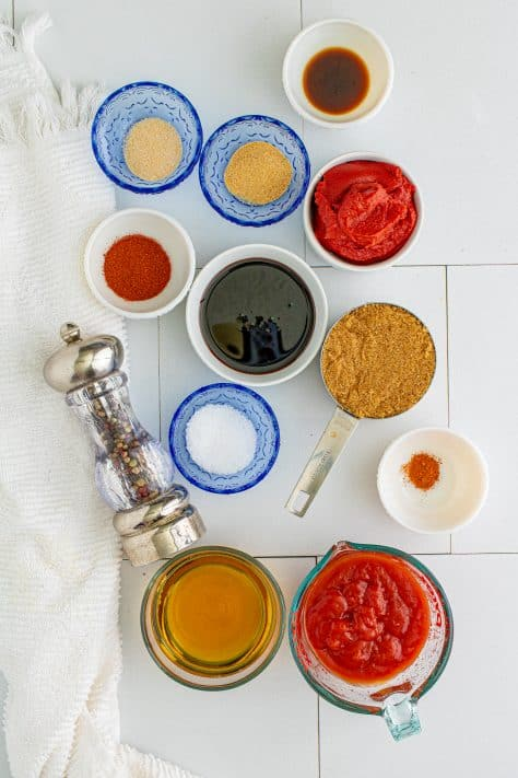 Ingredients needed: ketchup, brown sugar, tomato paste, apple cider vinegar, molasses, Worcestershire sauce, smoked paprika, garlic powder, onion powder, salt, pepper and cayenne