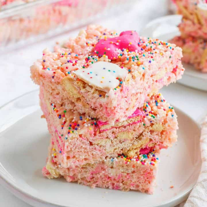 Square image of stacked Krispie Treats Recipe