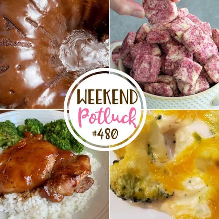 Weekend Potluck recipes: Brownie Cake, Broccoli Cauliflower Cheesy Bake, Easy Raspberry Almond Shortbread, Baked Teriyaki Chicken Thighs
