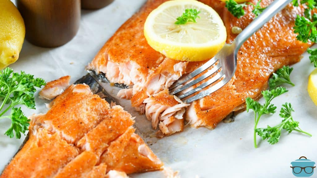 Smoked Salmon finished with fork pulling it apart appearing flaky