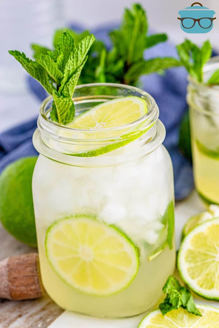 Summer Mojito shown in a glass with mint and limes.
