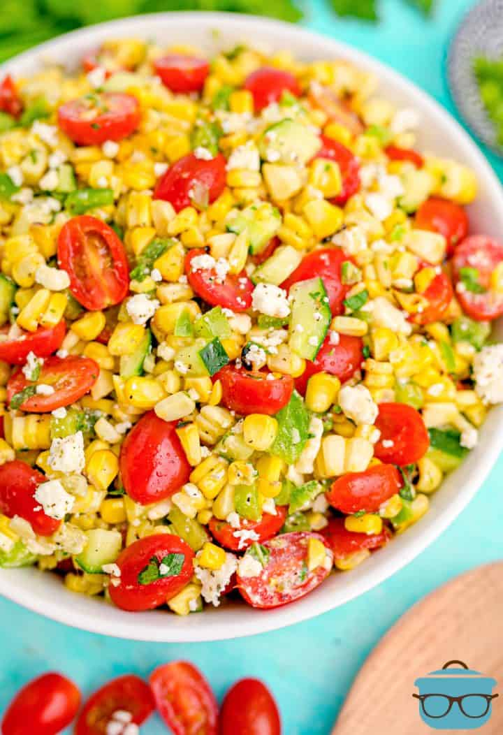 Finished Summer Corn Salad in white bowl overhead photo