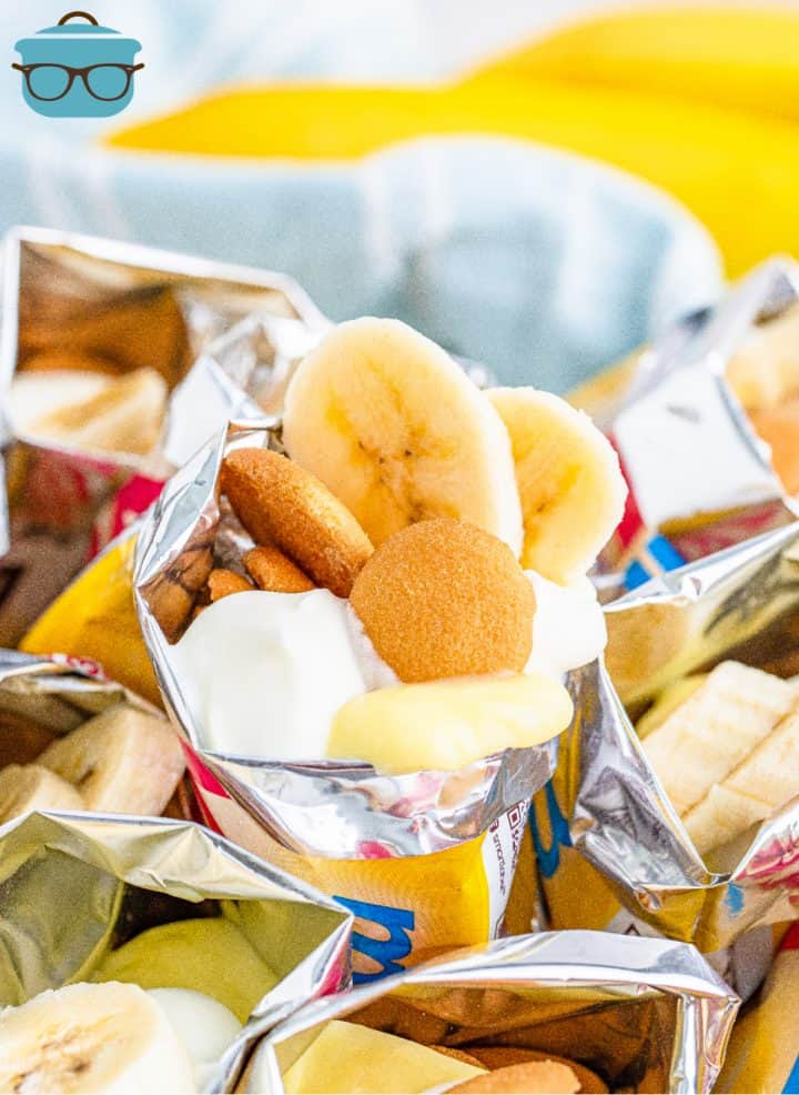 Close up of Walking Banana Pudding in bag with bananas and vanilla wafers sticking out
