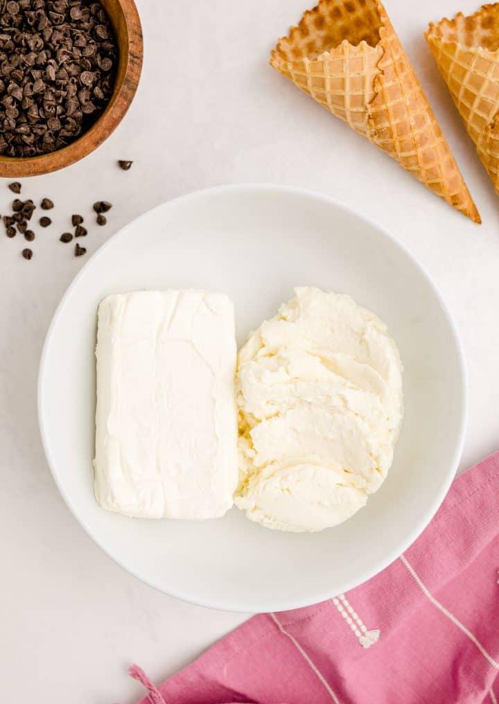 Cream cheese and ricotta cheese in white bowl