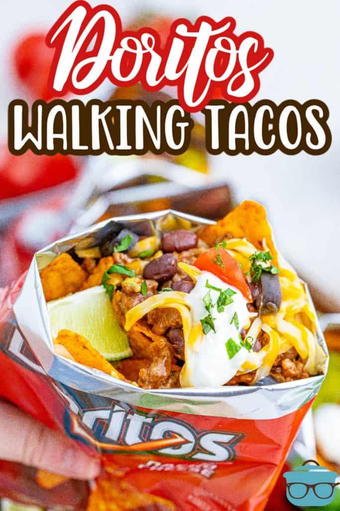 Close up inside bag of Doritos Walking Tacos ingredients Pinterest image