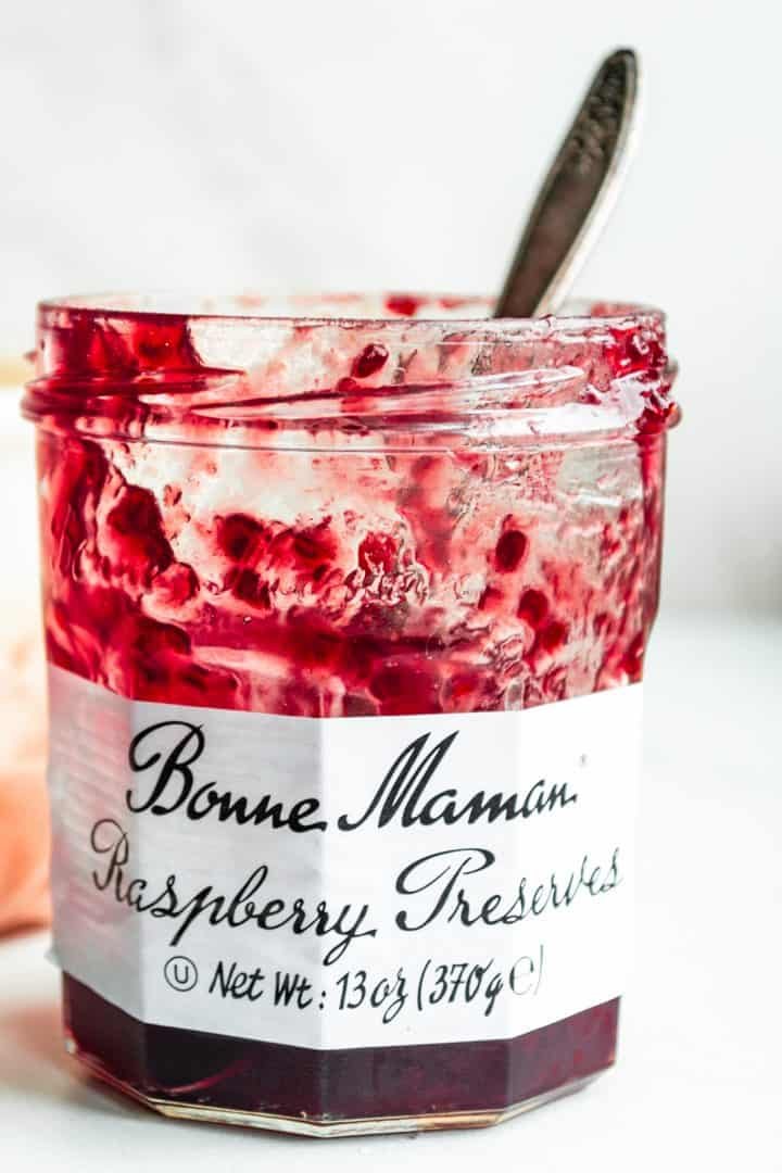 Ingredients needed: unsalted butter, raspberry jam or preserves, honey and sea salt