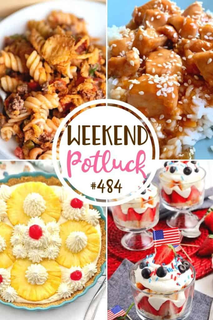 Weekend Potluck featured recipes: Crunchy Beef Casserole, No-Bake Pineapple Pie, Red, White & Blue Trifle and Easy Slow Cooker Orange Chicken