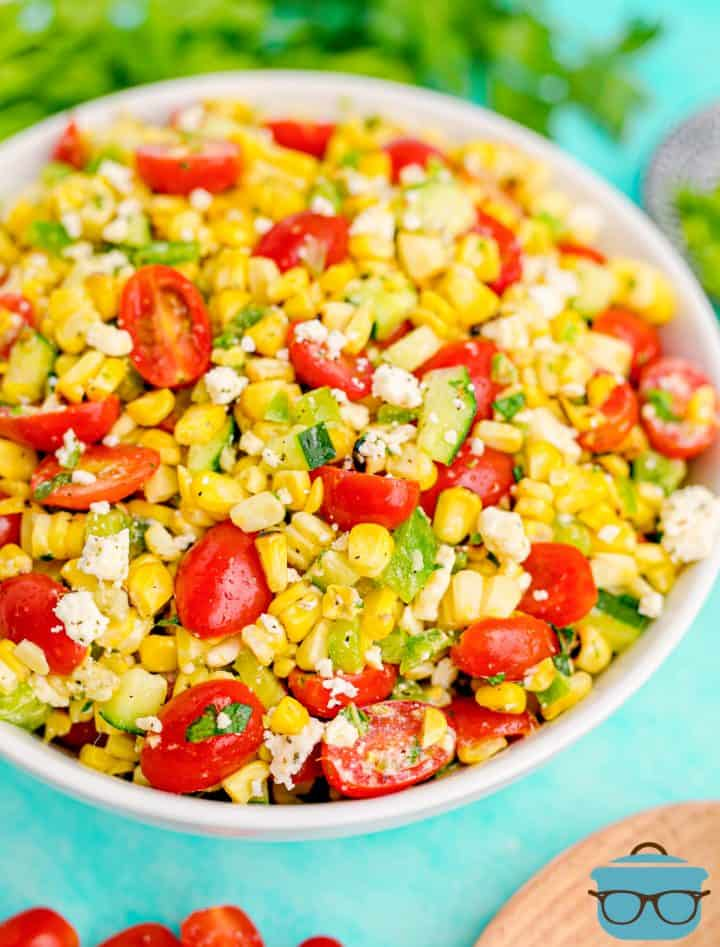 Summer Corn Salad in bowl with spoon in front of it