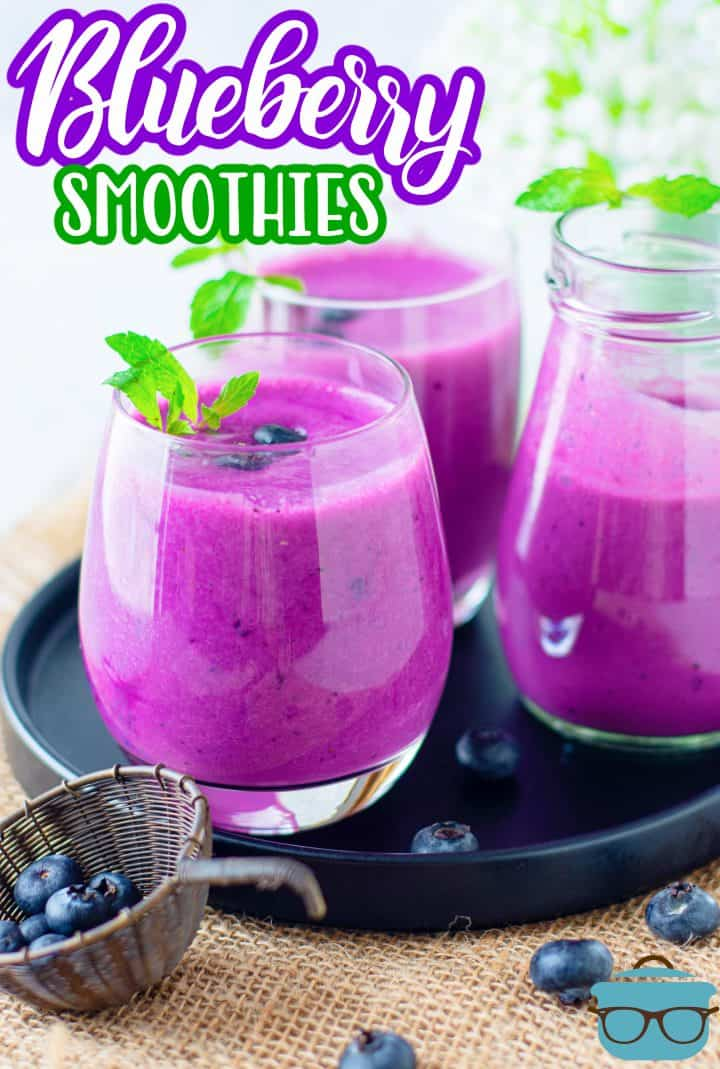 Blueberry Smoothies on black platter with mint and blueberries Pinterest image
