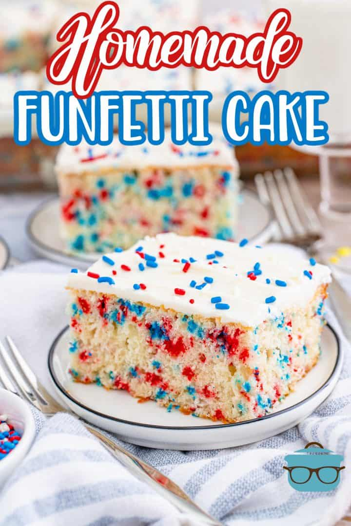 Two slices of Patriotic Homemade Funfetti Cake on white plates Pinterst image