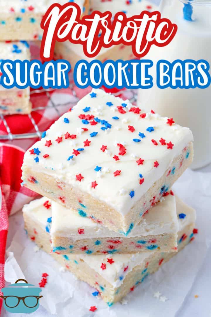 Overhead photo of stacked Patriotic Sugar Cookie bars Pinterest image