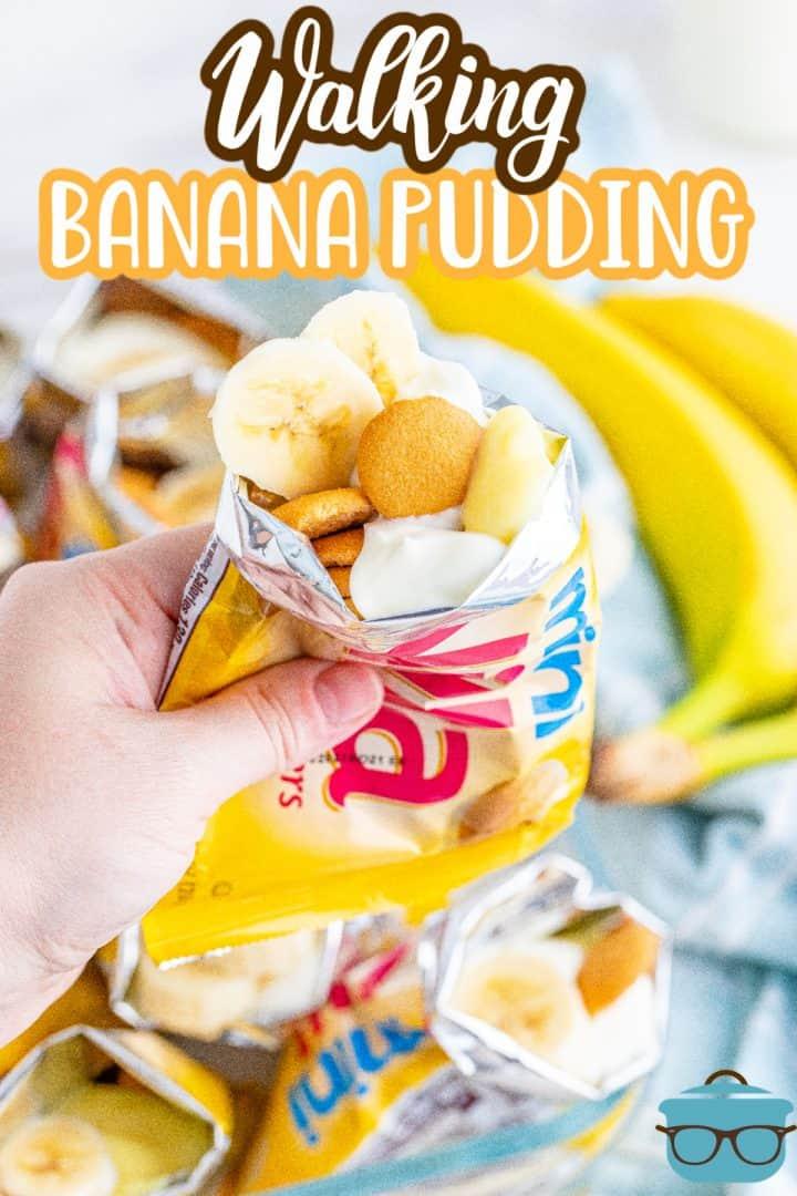 Hand holding one bag of Walking Banana Pudding Pinterest image