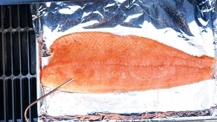 Meat probe in salmon filet on smoker