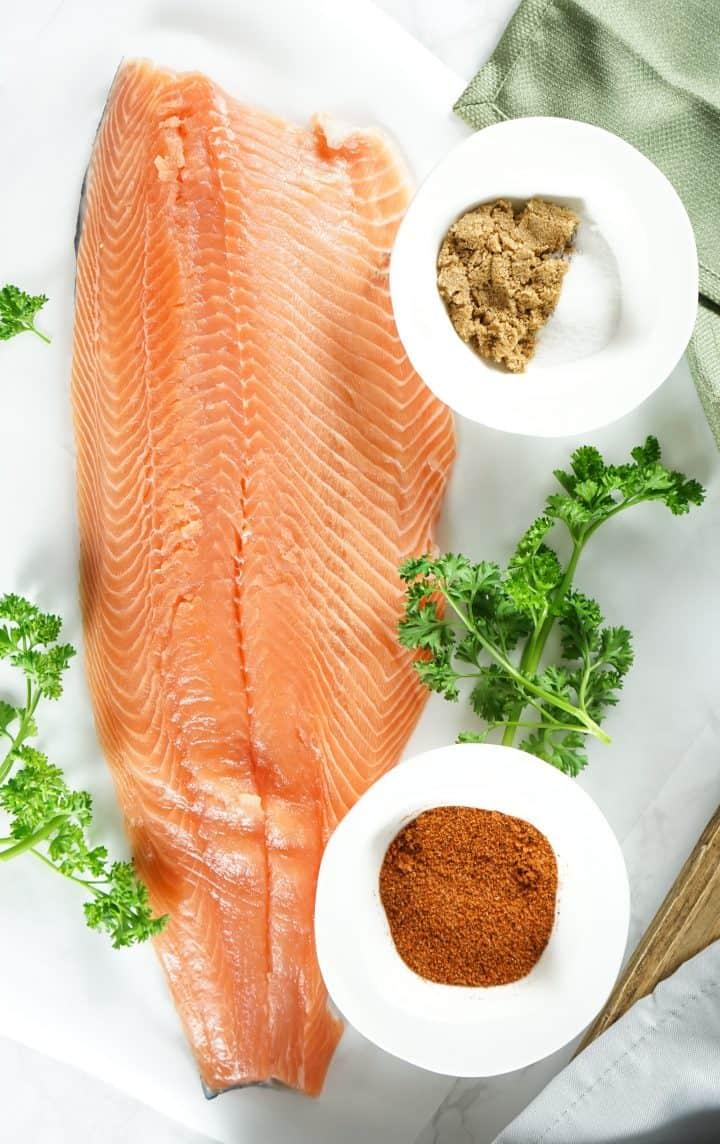 Ingredients needed: Salmon filet, brown sugar, salt and BBQ rub