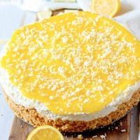 Square image of whole uncut No-Bake Lemon White Chocolate Cheesecake