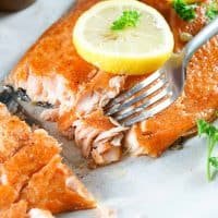 Square image of the Smoked Salmon finished with fork pulling out a flaky piece