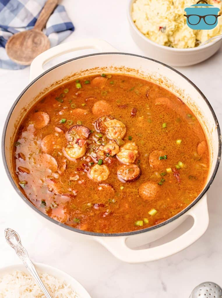 Finished Southern Shrimp Gumbo Recipe in white dutch oven