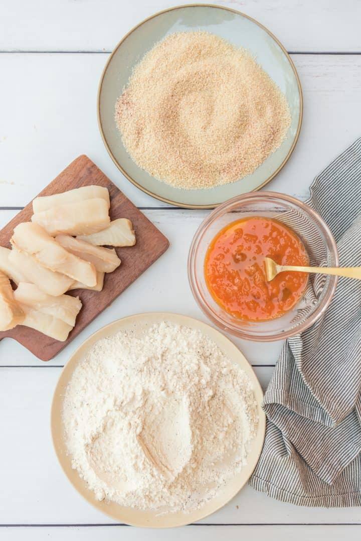 Flour mixture, egg mixture and bread crumb mixture all mixed up