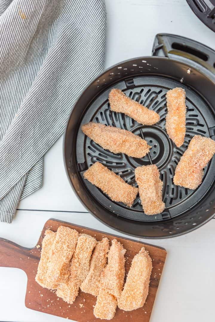 Fish sticks added to air fryer