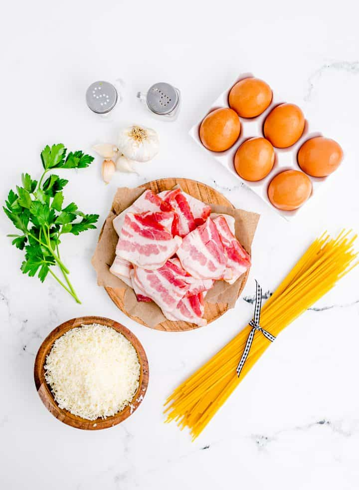 Ingredients needed: spaghetti, eggs, parmesan cheese, pepper, bacon, garlic, salt and parsley.