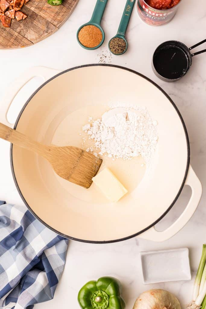 Butter and flour in dutch oven